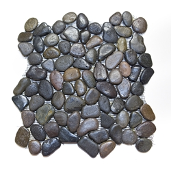 Glazed Bali Island Pebble Tile shower pebble tile floor, bathroom pebble rock floor, river rock stone mosaic floor tile, natural interlocking pebble tile flooring, mosaic stone tile, backsplash, sliced, mini, polished, natural pebble