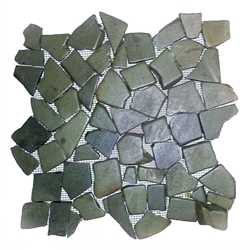 Glazed Green Flat Mosaic Tile natural pebble tile, interlocking pebble tile, bathroom pebble floor, pebble shower floor, sliced pebble, mosaic tile, mini pebble, kitchen backsplash, stone mosaic, river rock tile