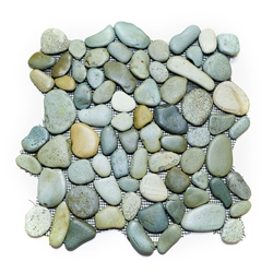 Glazed Green Pebble Tile shower pebble tile floor, bathroom pebble rock floor, river rock stone mosaic floor tile, natural interlocking pebble tile flooring, mosaic stone tile, backsplash, sliced, mini, polished, natural pebble