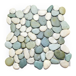 Glazed Green-White Pebble Tile shower pebble tile floor, bathroom pebble rock floor, river rock stone mosaic floor tile, natural interlocking pebble tile flooring, mosaic stone tile, backsplash, sliced, mini, polished, natural pebble