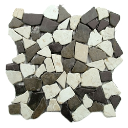 Glazed Grey-White Flat Mosaic Tile bathroom pebble tile floor, shower pebble rock floor, river rock stone mosaic floor tile, natural interlocking pebble tile flooring, mosaic stone tile, backsplash, sliced, mini, polished, natural pebble