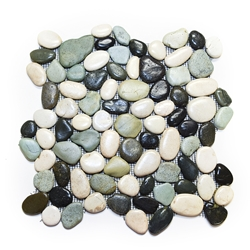 Glazed Maui Turtle Pebble Tile pebble tile, bathroom pebble rock floor, river rock stone mosaic floor tile, shower pebble rock tile floor, natural interlocking pebble tile flooring, river rock tile bathroom floor, mosaic stone floor, backsplash, sliced pebble, mini pebble