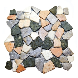 Glazed Merak Flat Mosaic Tile bathroom pebble tile floor, shower pebble rock floor, river rock stone mosaic floor tile, natural interlocking pebble tile flooring, mosaic stone tile, backsplash, sliced, mini, polished, natural pebble