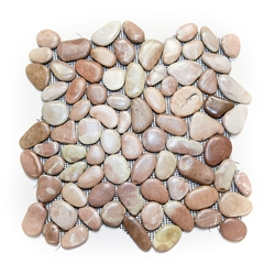 Glazed Very Berry Pebble Tile shower pebble tile floor, bathroom pebble rock floor, river rock stone mosaic floor tile, natural interlocking pebble tile flooring, mosaic stone tile, backsplash, sliced, mini, polished, natural pebble