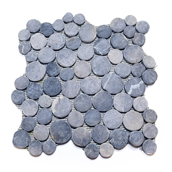 Grey Moon Mosaic Tile interlocking pebble tile flooring, shower pebble tile floor, bathroom pebble rock floor, river rock stone mosaic floor tile, natural pebble tile, kitchen backsplash, sliced, mini, polished, patio landscape, pool surround