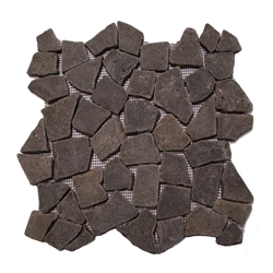 Natural Black Flat Mosaic Tile shower pebble tile floor, bathroom pebble rock floor, river rock stone mosaic floor tile, natural interlocking pebble tile flooring, mosaic stone tile, kitchen backsplash, sliced, mini, polished, natural pebble, pool surround, patio landscape