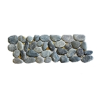 Natural Black Pebble Tile Border shower pebble tile floor, bathroom pebble rock floor, river rock stone mosaic floor tile, natural interlocking pebble tile flooring, mosaic stone tile, kitchen backsplash, sliced, mini, polished, natural pebble, pool surround, patio landscape