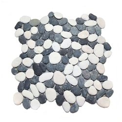 Natural Black-White Pebble Tile shower pebble tile floor, bathroom pebble rock floor, river rock stone mosaic floor tile, natural interlocking pebble tile flooring, mosaic stone tile, kitchen backsplash, sliced, mini, polished, natural pebble, pool surround, patio landscape