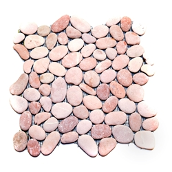 Natural Pink Pebble Tile shower pebble tile floor, bathroom pebble rock floor, river rock stone mosaic floor tile, natural interlocking pebble tile flooring, mosaic stone tile, kitchen backsplash, sliced, mini, polished, natural pebble, pool surround, patio landscape