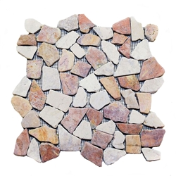 Natural Red-White Flat Mosaic Tile shower pebble tile floor, bathroom pebble rock floor, river rock stone mosaic floor tile, natural interlocking pebble tile flooring, mosaic stone tile, kitchen backsplash, sliced, mini, polished, natural pebble, pool surround, patio landscape
