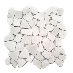 Natural Snow White Flat Mosaic Tile shower pebble tile floor, bathroom pebble rock floor, river rock stone mosaic floor tile, natural interlocking pebble tile flooring, mosaic stone tile, kitchen backsplash, sliced, mini, polished, natural pebble, pool surround, patio landscape
