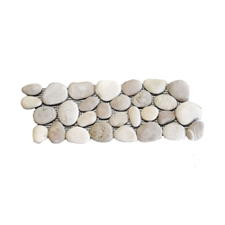 Natural Tan-White Pebble Tile Border shower pebble tile floor, bathroom pebble rock floor, river rock stone mosaic floor tile, natural interlocking pebble tile flooring, mosaic stone tile, kitchen backsplash, sliced, mini, polished, natural pebble, pool surround, patio landscape