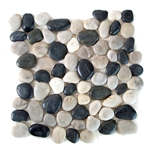 Polished Black-White Pebble Tile shower pebble rock tile floor, pebble tile, river rock stone mosaic floor tile, bathroom pebble rock floor, natural interlocking pebble tile flooring, mosaic stone floor, river rock tile bathroom floor, kitchen pebble mosaic backsplash, sliced pebble, mini pebble