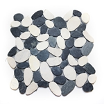 Sliced Black-White Flat Pebble Tile shower pebble rock tile floor, pebble tile, river rock stone mosaic floor tile, bathroom pebble rock floor, natural interlocking pebble tile flooring, mosaic stone floor, river rock tile bathroom floor, kitchen pebble mosaic backsplash, sliced pebble, mini pebble