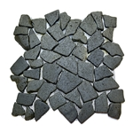 Glazed Black Flat Mosaic Tile bathroom pebble tile floor, shower pebble rock floor, river rock stone mosaic floor tile, natural interlocking pebble tile flooring, mosaic stone tile, backsplash, sliced, mini, polished, natural pebble