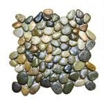 Glazed Dark Ocean Pebble Tile shower pebble tile floor, bathroom pebble rock floor, river rock stone mosaic floor tile, natural interlocking pebble tile flooring, mosaic stone tile, backsplash, sliced, mini, polished, natural pebble