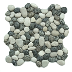 Glazed Grey-White Pebble Tile shower pebble tile floor, bathroom pebble rock floor, river rock stone mosaic floor tile, natural interlocking pebble tile flooring, mosaic stone tile, backsplash, sliced, mini, polished, natural pebble