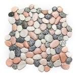 Glazed Mixed Pebble Tile shower pebble tile floor, bathroom pebble rock floor, river rock stone mosaic floor tile, natural interlocking pebble tile flooring, mosaic stone tile, backsplash, sliced, mini, polished, natural pebble