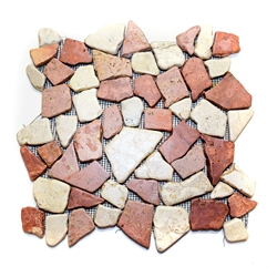 Glazed Red-White Flat Mosaic Tile bathroom pebble tile floor, shower pebble rock floor, river rock stone mosaic floor tile, natural interlocking pebble tile flooring, mosaic stone tile, backsplash, sliced, mini, polished, natural pebble
