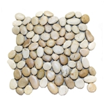 Glazed Tan-White Pebble Tile shower pebble tile floor, bathroom pebble rock floor, river rock stone mosaic floor tile, natural interlocking pebble tile flooring, mosaic stone tile, backsplash, sliced, mini, polished, natural pebble