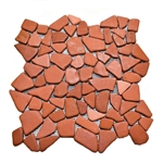 Glazed Terracotta Flat Mosaic Tile bathroom pebble tile floor, shower pebble rock floor, river rock stone mosaic floor tile, natural interlocking pebble tile flooring, mosaic stone tile, backsplash, sliced, mini, polished, natural pebble