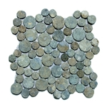 Green Moon Mosaic Tile interlocking pebble tile flooring, shower pebble tile floor, bathroom pebble rock floor, river rock stone mosaic floor tile, natural pebble tile, kitchen backsplash, sliced, mini, polished, patio landscape, pool surround