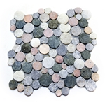 Merak Moon Mosaic Tile interlocking pebble tile flooring, shower pebble tile floor, bathroom pebble rock floor, river rock stone mosaic floor tile, natural pebble tile, kitchen backsplash, sliced, mini, polished, patio landscape, pool surround