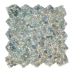 Mini Green Pebble Tile bathroom pebble tile floor, shower pebble rock floor, river rock stone mosaic floor tile, natural interlocking pebble tile flooring, mosaic stone tile, kitchen backsplash, sliced, mini, polished, natural pebble, pool surround, patio landscape