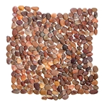 Mini Polished Auburn Pebble Tile bathroom pebble tile floor, shower pebble rock floor, river rock stone mosaic floor tile, natural interlocking pebble tile flooring, mosaic stone tile, kitchen backsplash, sliced, mini, polished, natural pebble, pool surround, patio landscape