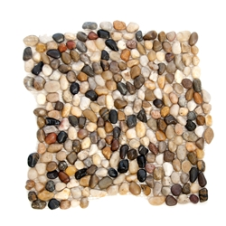 Mini Polished Natural Mixed Pebble Tile bathroom pebble tile floor, shower pebble rock floor, river rock stone mosaic floor tile, natural interlocking pebble tile flooring, mosaic stone tile, kitchen backsplash, sliced, mini, polished, natural pebble, pool surround, patio landscape