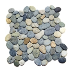 Natural Dark Ocean Pebble Tile shower pebble tile floor, bathroom pebble rock floor, river rock stone mosaic floor tile, natural interlocking pebble tile flooring, mosaic stone tile, kitchen backsplash, sliced, mini, polished, natural pebble, pool surround, patio landscape