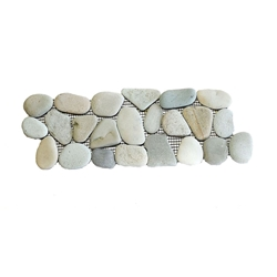 Natural Green Pebble Tile Border shower pebble tile floor, bathroom pebble rock floor, river rock stone mosaic floor tile, natural interlocking pebble tile flooring, mosaic stone tile, kitchen backsplash, sliced, mini, polished, natural pebble, pool surround, patio landscape