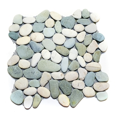 Natural Green-White Pebble Tile shower pebble tile floor, bathroom pebble rock floor, river rock stone mosaic floor tile, natural interlocking pebble tile flooring, mosaic stone tile, kitchen backsplash, sliced, mini, polished, natural pebble, pool surround, patio landscape