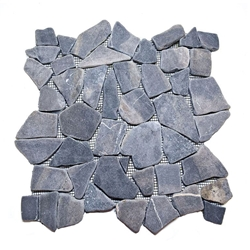 Natural Grey Flat Mosaic Tile shower pebble tile floor, bathroom pebble rock floor, river rock stone mosaic floor tile, natural interlocking pebble tile flooring, mosaic stone tile, kitchen backsplash, sliced, mini, polished, natural pebble, pool surround, patio landscape
