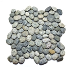 Natural Grey Pebble Tile shower pebble tile floor, bathroom pebble rock floor, river rock stone mosaic floor tile, natural interlocking pebble tile flooring, mosaic stone tile, kitchen backsplash, sliced, mini, polished, natural pebble, pool surround, patio landscape