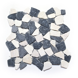 Natural Grey-White Flat Mosaic Tile shower pebble tile floor, bathroom pebble rock floor, river rock stone mosaic floor tile, natural interlocking pebble tile flooring, mosaic stone tile, kitchen backsplash, sliced, mini, polished, natural pebble, pool surround, patio landscape