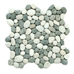 Natural Grey-White Pebble Tile shower pebble tile floor, bathroom pebble rock floor, river rock stone mosaic floor tile, natural interlocking pebble tile flooring, mosaic stone tile, kitchen backsplash, sliced, mini, polished, natural pebble, pool surround, patio landscape