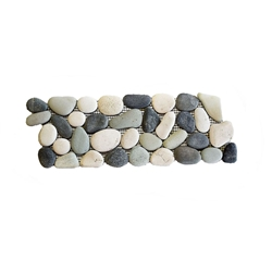 Natural Maui Turtle Pebble Tile Border shower pebble tile floor, bathroom pebble rock floor, river rock stone mosaic floor tile, natural interlocking pebble tile flooring, mosaic stone tile, kitchen backsplash, sliced, mini, polished, natural pebble, pool surround, patio landscape