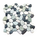 Natural Maui Turtle Pebble Tile shower pebble tile floor, bathroom pebble rock floor, river rock stone mosaic floor tile, natural interlocking pebble tile flooring, mosaic stone tile, kitchen backsplash, sliced, mini, polished, natural pebble, pool surround, patio landscape