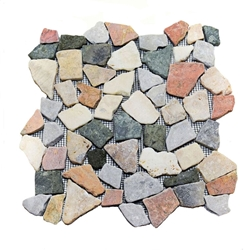 Natural Merak Flat Mosaic Tile shower pebble tile floor, bathroom pebble rock floor, river rock stone mosaic floor tile, natural interlocking pebble tile flooring, mosaic stone tile, kitchen backsplash, sliced, mini, polished, natural pebble, pool surround, patio landscape