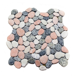 Natural Mixed Pebble Tile shower pebble tile floor, bathroom pebble rock floor, river rock stone mosaic floor tile, natural interlocking pebble tile flooring, mosaic stone tile, kitchen backsplash, sliced, mini, polished, natural pebble, pool surround, patio landscape