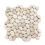 Natural Tan Pebble Tile shower pebble tile floor, bathroom pebble rock floor, river rock stone mosaic floor tile, natural interlocking pebble tile flooring, mosaic stone tile, kitchen backsplash, sliced, mini, polished, natural pebble, pool surround, patio landscape