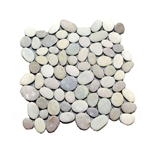 Natural Tan-White Pebble Tile shower pebble tile floor, bathroom pebble rock floor, river rock stone mosaic floor tile, natural interlocking pebble tile flooring, mosaic stone tile, kitchen backsplash, sliced, mini, polished, natural pebble, pool surround, patio landscape