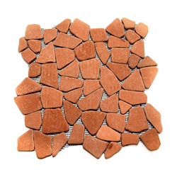 Natural Terracotta Flat Mosaic Tile shower pebble tile floor, bathroom pebble rock floor, river rock stone mosaic floor tile, natural interlocking pebble tile flooring, mosaic stone tile, kitchen backsplash, sliced, mini, polished, natural pebble, pool surround, patio landscape