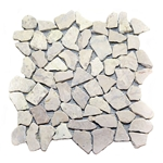 Natural White Flat Mosaic Tile shower pebble tile floor, bathroom pebble rock floor, river rock stone mosaic floor tile, natural interlocking pebble tile flooring, mosaic stone tile, kitchen backsplash, sliced, mini, polished, natural pebble, pool surround, patio landscape