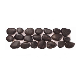 Polished Black Pebble Tile Border shower pebble tile floor, bathroom pebble rock floor, river rock stone mosaic floor tile, natural interlocking pebble tile flooring, mosaic stone tile, kitchen backsplash, sliced, mini, polished, natural pebble, pool surround, patio landscape