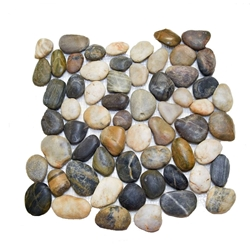 Polished Natural Mixed Pebble Tile shower pebble rock tile floor, pebble tile, river rock stone mosaic floor tile, bathroom pebble rock floor, natural interlocking pebble tile flooring, mosaic stone floor, river rock tile bathroom floor, kitchen pebble mosaic backsplash, sliced pebble, mini pebble