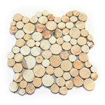 Sandstone Moon Mosaic Tile interlocking pebble tile flooring, shower pebble tile floor, bathroom pebble rock floor, river rock stone mosaic floor tile, natural pebble tile, kitchen backsplash, sliced, mini, polished, patio landscape, pool surround