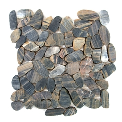 Sliced Tiger Flat Pebble Tile shower pebble rock tile floor, pebble tile, river rock stone mosaic floor tile, bathroom pebble rock floor, natural interlocking pebble tile flooring, mosaic stone floor, river rock tile bathroom floor, kitchen pebble mosaic backsplash, sliced pebble, mini pebble