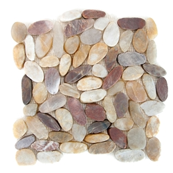Sliced Wine Flat Pebble Tile shower pebble rock tile floor, pebble tile, river rock stone mosaic floor tile, bathroom pebble rock floor, natural interlocking pebble tile flooring, mosaic stone floor, river rock tile bathroom floor, kitchen pebble mosaic backsplash, sliced pebble, mini pebble